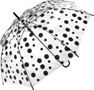 Dežnik Poe, prozoren, pike, cca 100cm