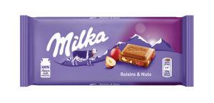 Čokolada mlečna Milka, lešnik in rozine, 100g