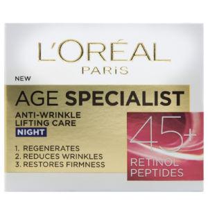 Krema za obraz proti gubicam L'Oreal, Age Specialist, nočna 45+, 50 ml