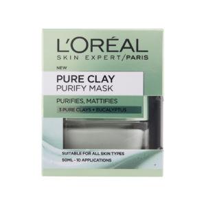 Maska za obraz L'oreal, Pure Clay, Purify, 50 ml