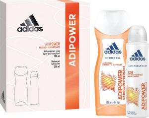 Darilni set Adidas ženski Adipower dezodorant 150ml + gel za tuširanje 250ml