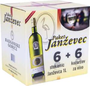 Darilno pakiranje Janževec in 6 kozarcev, alk.11vol%, 6l