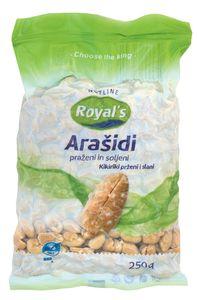 Arašidi in oreščki Royal's, več vrst, gramatu