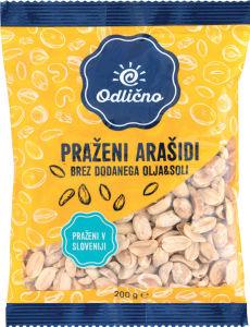 Praženi arašidi Odlično, brez dodatnega olja ali soli, 200g