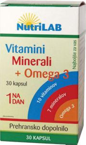 Vitamini, minerali, +omega 3; 30 kapsul