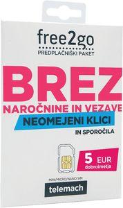 Predplačniški paket Free2Go Telemach, 5€