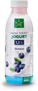 Jogurt Tuš, borovnica, tekoči, 1,1 % m.m., 500 g
