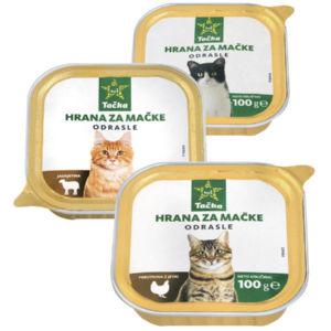 Hrana za mačke Tačka, 100g, več vrst