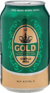 Pivo Tuš Gold, alk.4,3 vol%, pločev., 0,33l