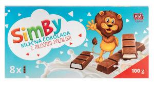 Čokolada ml. Simby, z mlečnim polnilom, 100g