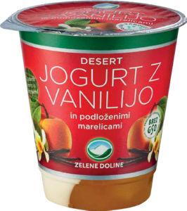 Jogurt Zelene dol., vanilija, marelica, 150g