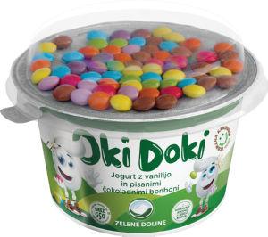 Jogurt Oki Doki, vanilija, s čok.bonboni, 150 g