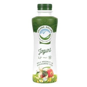 Jogurt tekoči, Zelene Doline, bela breskev in pomarančni cvet, 1,1 % m.m., 500 g
