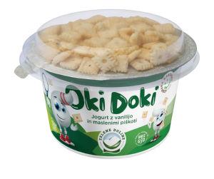 Jogurt Oki Doki, Zelene Doline, vanilijo in maslenimi piškoti, 150 g