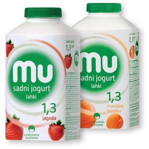 Lahki sadni jogurt MU, 500g; več okusov