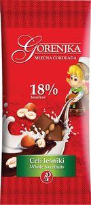 Čokolada mlečna Gorenjka, celi lešniki, 100g