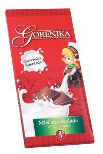 Čokolada Gorenjka, mlečna, 100g