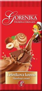 Čokolada mlečna Gorenjka, polnjena, lešnik, 100g