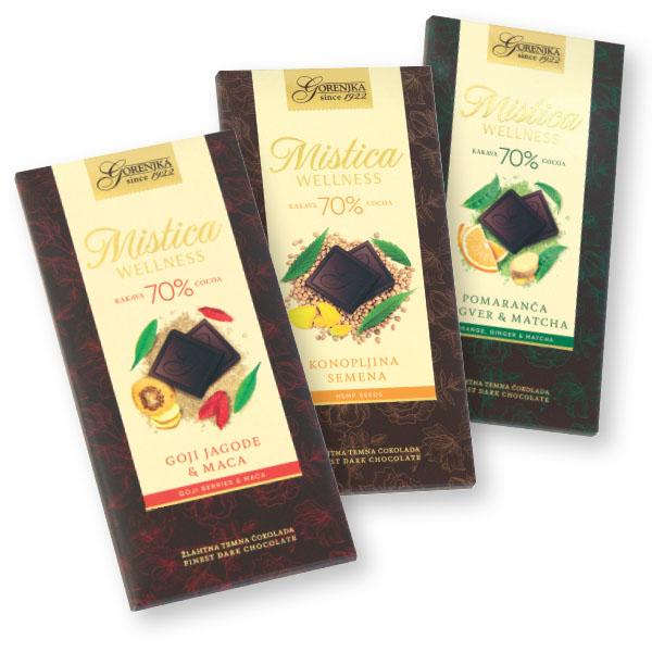 Čokolada, žlahtna, temna, goji, maca, 100g