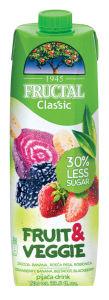 Pijača Fructal jagoda banana 30%, manj sladkorja, 1l