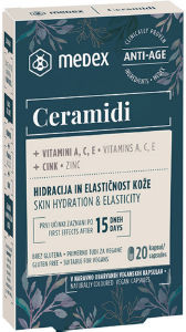Kapsule Ceramidi Medex za hidracijo in elastičnost kože, 20/1