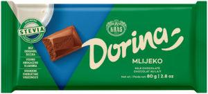 Čokolada mlečna Dorina, stevia, 80g