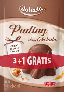Puding Dolcela, z okusom čokolade, 180 g, 3+1 gratis