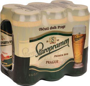 Pivo Staropramen, alk.5 vol%, 6×0,5l