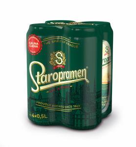 Pivo Staropramen, alk. 5 vol%, 4×0,5l