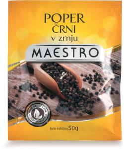Poper Maestro, črni, v zrnju, 50g