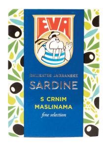 Sardine Eva Delikates, s črnimi olivami, 115g