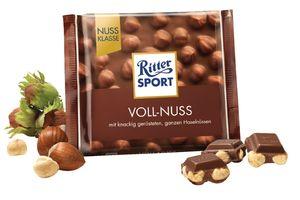 Čokolada mlečna Ritter sport, celi lešnik, 100g