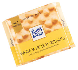 Čokolada Ritter sport, bela, c.lešnik, 100g