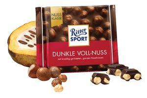 Čokolada Ritter sport, temna, c.lešnik, 100g