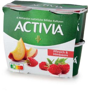 Jogurt Activia breskev, malina, 4x115g