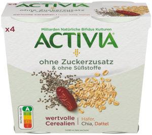 Activia brez dodanega sladkorja okus datelj, oves, chia semena, 4 x 115 g