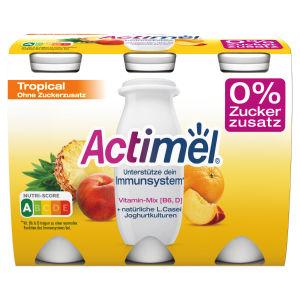Jogurtov napitek Actimel, tropsko sadje, 0% dodanega sladkorja, 6 x 100 g
