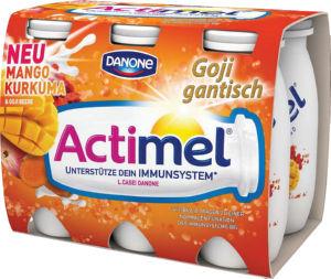 Jogurtov napitek Actimel kurk.&goji jag.&mango, 6x100g