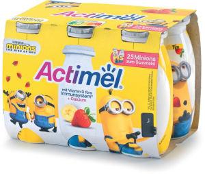 Jogurtov napitek Actimel kids, jagoda, banana, 6x100g