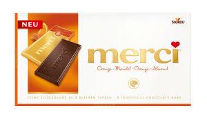 Čokolada Merci temna, s koščki mandljev in pomaranč, 100g