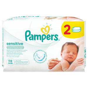 Robci Pampers, sensitive, 2×56