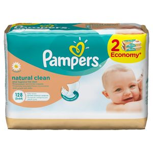 Robčki Pampers, natural clean, 2×64