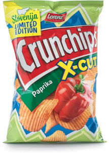 Čips Crunchips, x-cut, paprika, 150g