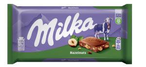 Čokolada mlečna Milka z lomljenimi lešniki, 100g