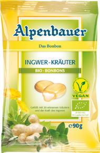 Bonboni Bio Alpenbauer, ingver, zelišča, 90g