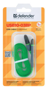 Kabel USB microusb+lightning 1m zelen