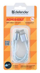 Kabel USB lightning 1m led siv