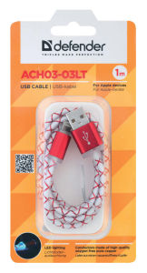 Kabel USB lightning 1m led rdeč
