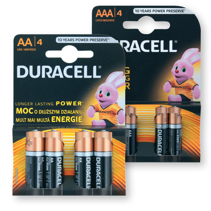 Baterijski vložki Duracell, AAA ali AA, 4/1