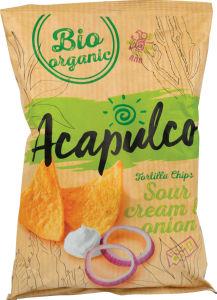 Čips tortilja Bio Acapulco, kisla smetana in čebula, 125g